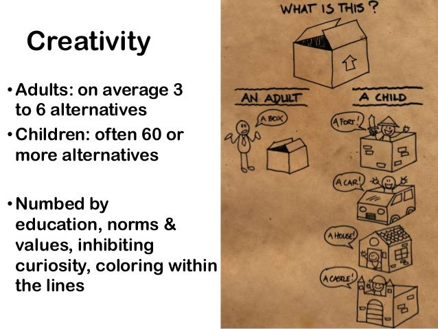 Creativity• Adults: on average 3  to 6 alternatives• Children: often 60 or  more alternatives• Numbed by  education, norms...