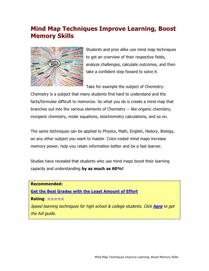 Mind Map Techniques Improve Learning, Boost Memory Skills                                Students and pros alike use mind ...