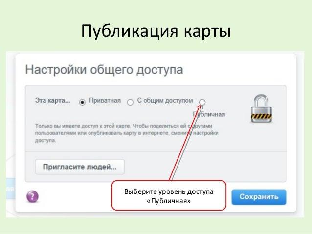 Публикация карты Выберите уровень доступа «Публичная»