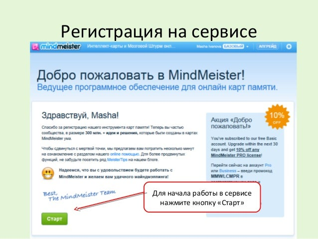 Регистрация на сервисе Для начала работы в сервисе нажмите кнопку «Старт»