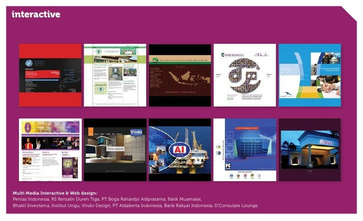 interactiveMulti Media Interactive & Web design:Pentas Indonesia, RS Bersalin Duren Tiga, PT Boga Rahardjo Adipratama, Ban...