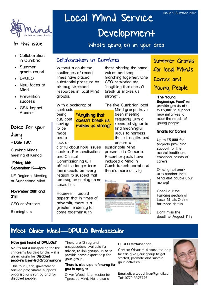 Issue 9 Summer 2012                                     Local Mind Service                                            Deve...