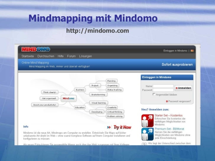 Mindmapping mit Mindomo http://mindomo.com