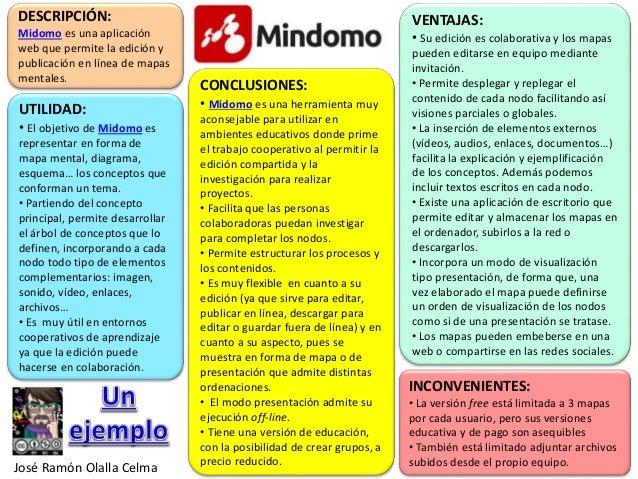 DESCRIPCIÓN: Midomo es una aplicación web que permite la edición y publicación en línea de mapas mentales. UTILIDAD: • El ...