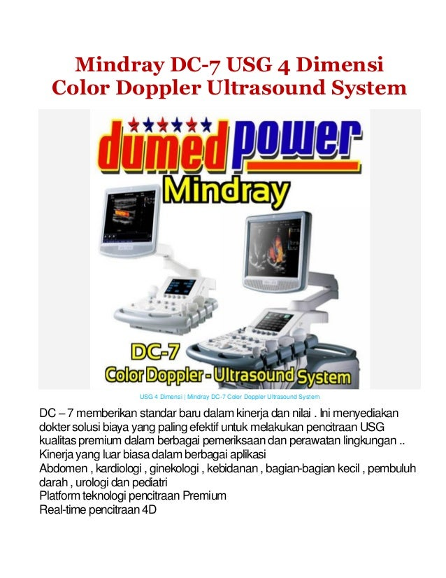 Mindray DC-7 USG 4 Dimensi Color Doppler Ultrasound System  USG 4 Dimensi | Mindray DC-7 Color Doppler Ultrasound System  ...