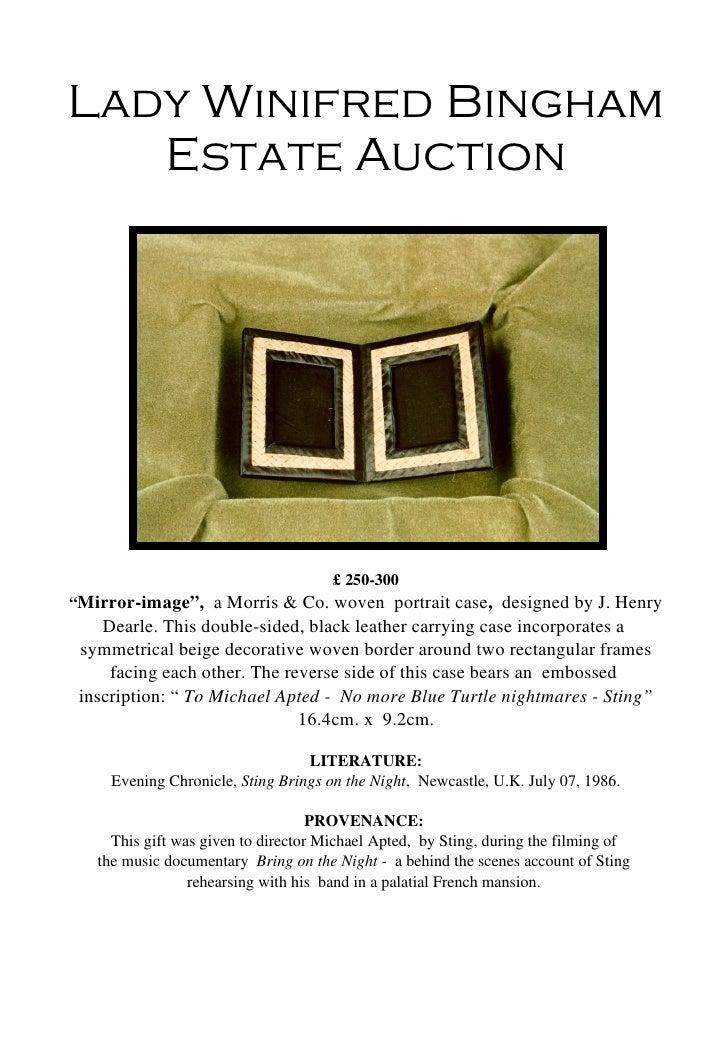"""Lady Winifred Bingham Estate Auction <ul><li>£ 250-300 </li></ul><ul><li>"""" Mirror-image"""",  a Morris & Co. woven  portrait ..."""