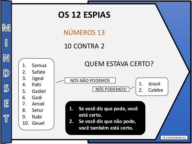 FB.COM/RSMARCAS OS 12 ESPIAS NÚMEROS 13 10 CONTRA 2 QUEM ESTAVA CERTO?1. Samua 2. Safate 3. Jigeal 4. Palti 5. Gadiel 6. G...