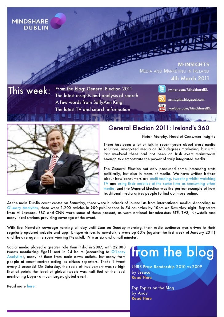4th March 2011This week:                 From the blog: General Election 2011                           The latest insight...