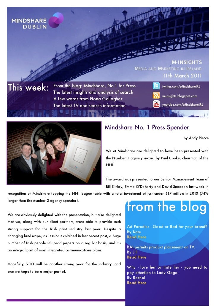 11th March 2011This week:                 From the blog: Mindshare, No.1 for Press                           The latest in...