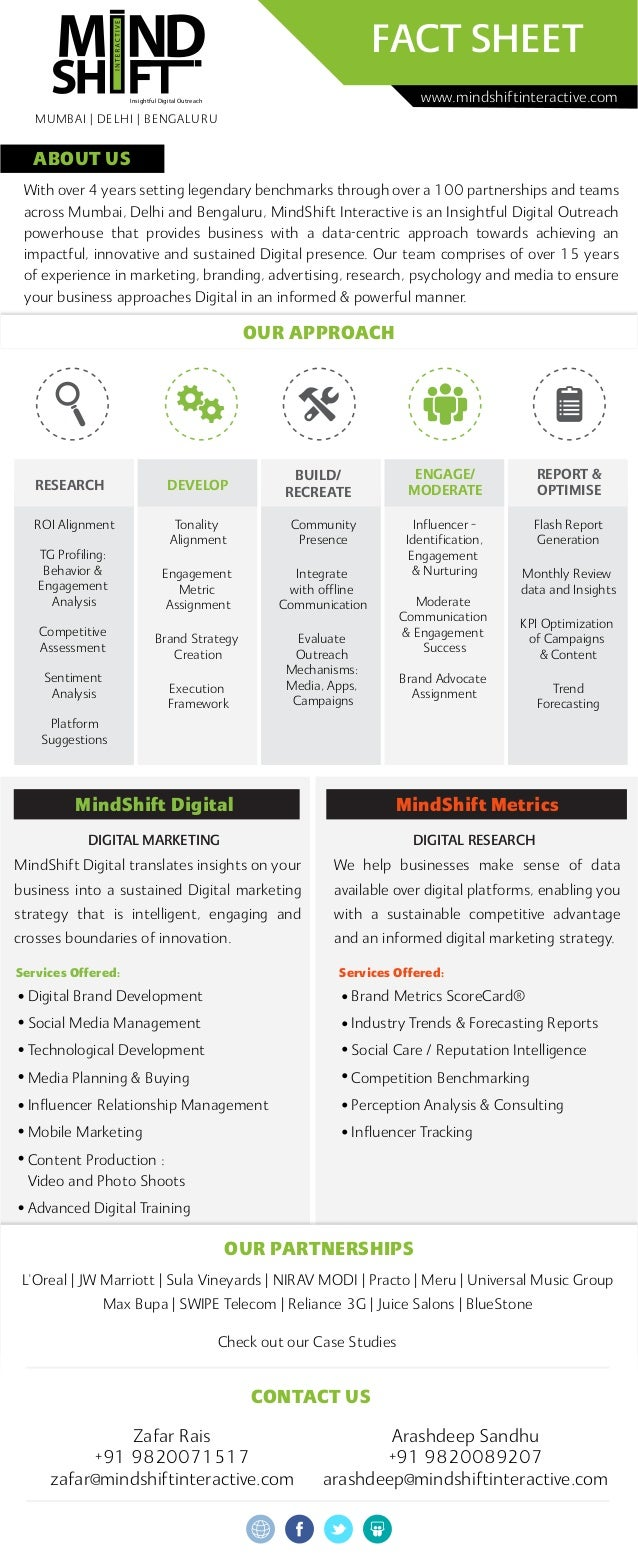 ABOUT US MindShift Digital DIGITAL MARKETING MindShift Metrics DIGITAL RESEARCH FACT SHEET With over 4 years setting legen...