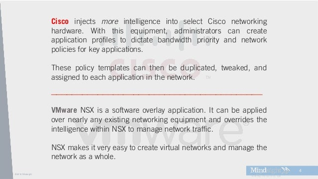 ©2016 Mindsight 4 VMware NSX is a software overlay application. It can be applied over nearly any existing networking equi...