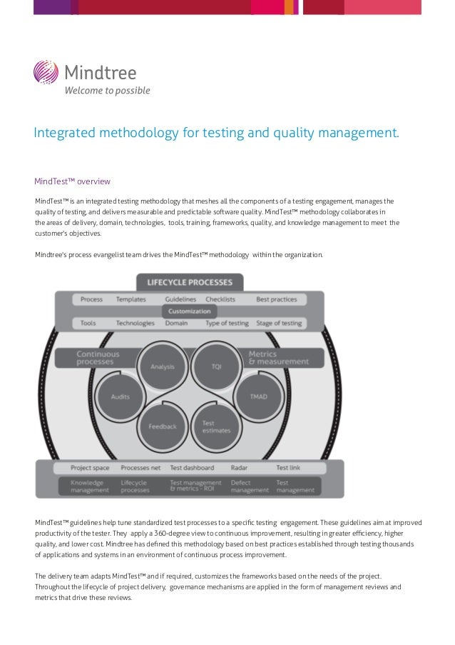 Integrated methodology for testing and quality management.MindTest™ overviewMindTest™ is an integrated testing methodology...