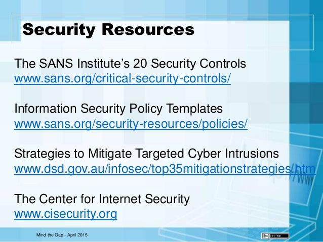sans security policy templates - mind the gap
