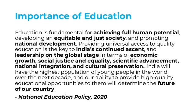 Importance of Education Education is fundamental for achieving full human potential, developing an equitable and just soci...