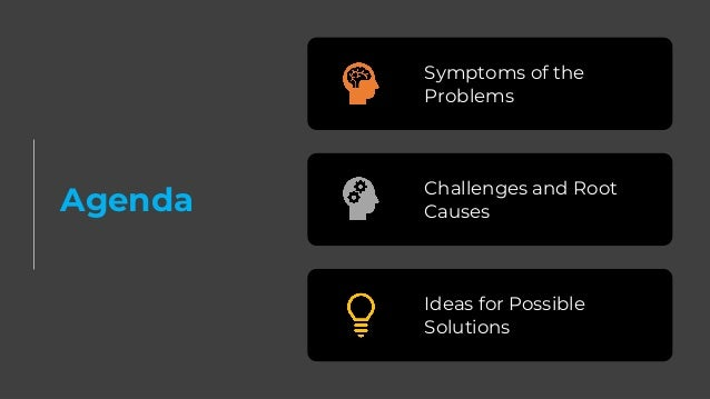Agenda Symptoms of the Problems Challenges and Root Causes Ideas for Possible Solutions