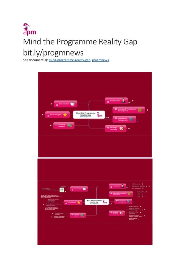 Mind the Programme Reality Gap bit.ly/progmnews See document(s): mind-programme-reality-gap, progmnews