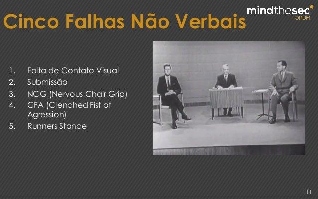11 Cinco Falhas Não Verbais 1. Falta de Contato Visual 2. Submissão 3. NCG (Nervous Chair Grip) 4. CFA (ClenchedFist of Ag...