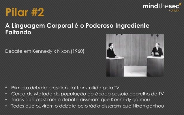 Pilar #2 A Linguagem Corporal é o Poderoso Ingrediente Faltando Debate em Kennedy x Nixon (1960) • Primeiro debate preside...