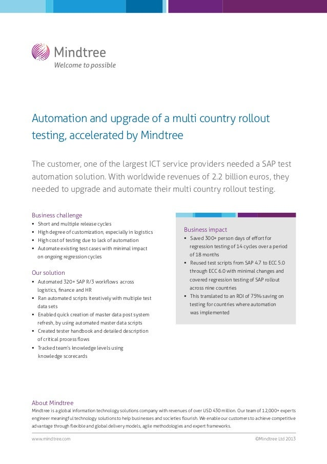 Automation and upgrade of a multi country rollout testing, accelerated by Mindtree The customer, one of the largest ICT se...