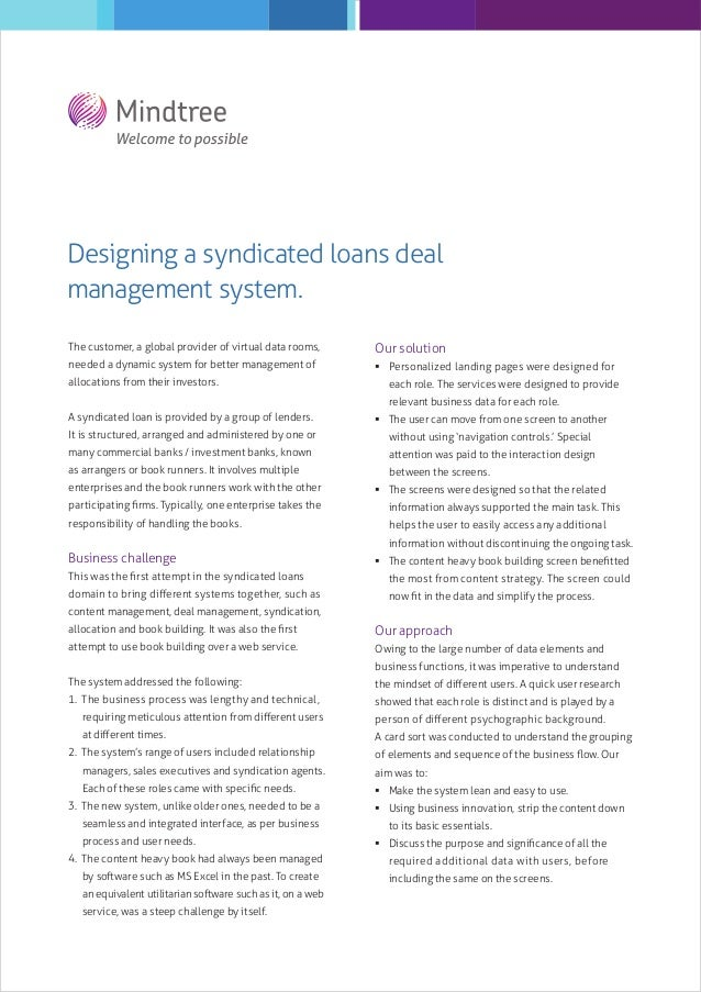 Designing a syndicated loans deal management system. The customer, a global provider of virtual data rooms,  Our solution ...