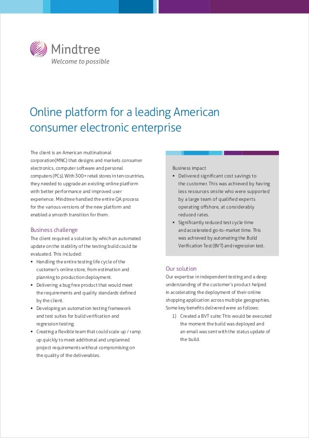 Online platform for a leading American consumer electronic enterprise The client is an American multinational corporation(...