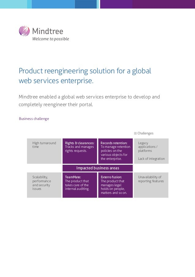 Product reengineering solution for a global web services enterprise. Mindtree enabled a global web services enterprise to ...