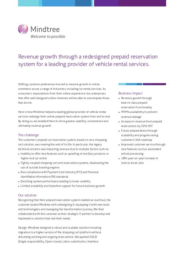Revenue growth through a redesigned prepaid reservation system for a leading provider of vehicle rental services.  Shiftin...