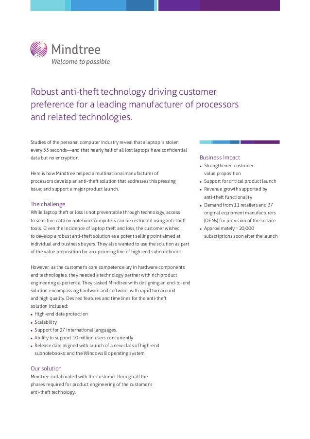 Robust anti-theft technology driving customer preference for a leading manufacturer of processors and related technologies...