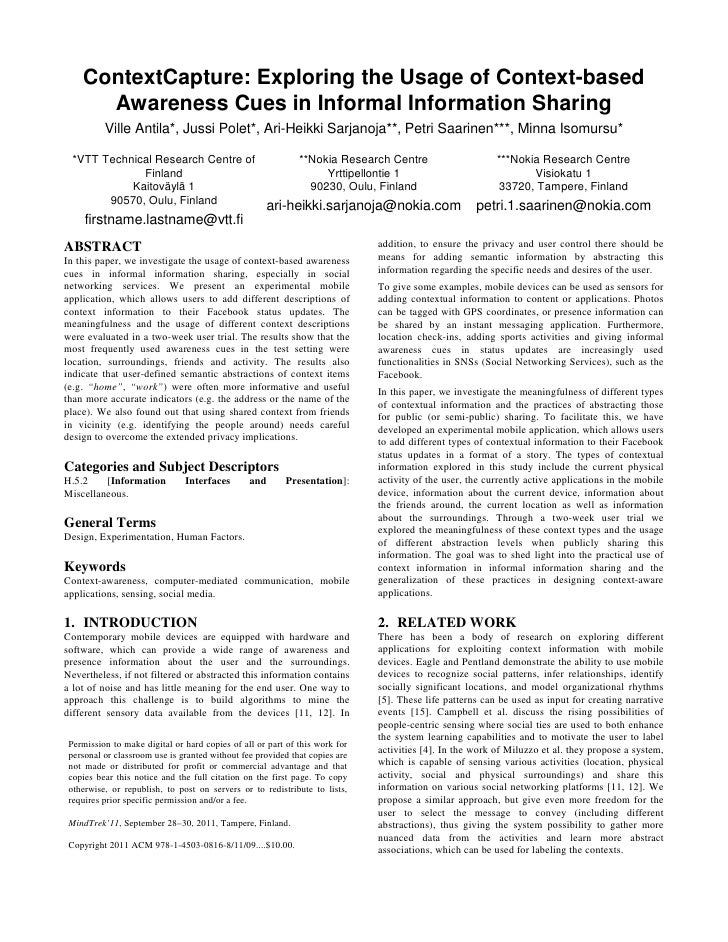 ContextCapture: Exploring the Usage of Context-based      Awareness Cues in Informal Information Sharing          Ville An...