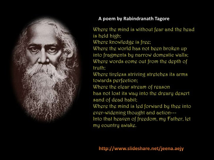 """where the mind is without fear by rabindranath tagore """"where the mind is without fear"""" lecture by  ➢rabindranath tagore is to  indians what shakespeare is to the  tagore prays for the welfare of the country."""