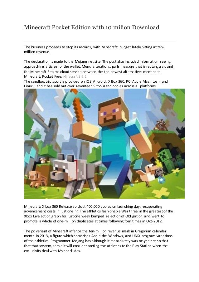 Minecraft pocket edition with 10 milion download