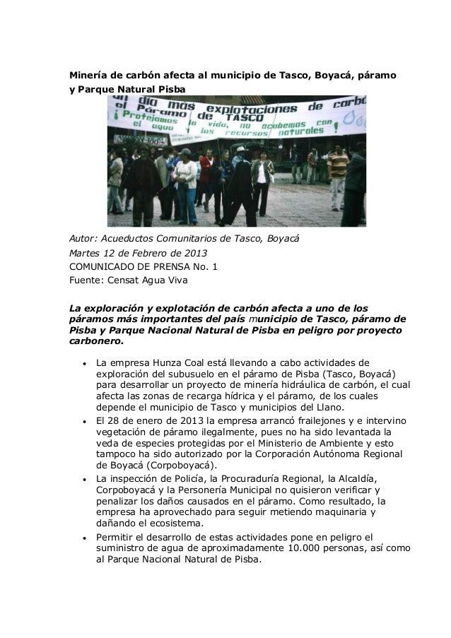Minería de carbón afecta al municipio de Tasco, Boyacá, páramoy Parque Natural PisbaAutor: Acueductos Comunitarios de Tasc...