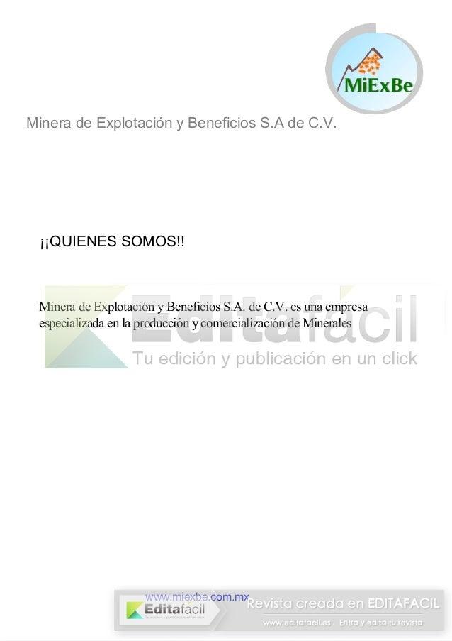 Minera de Explotación y Beneficios S.A de C.V.  ¡¡QUIENES SOMOS!!  Minera de Explotación y Beneficios S.A. de C.V. es una ...