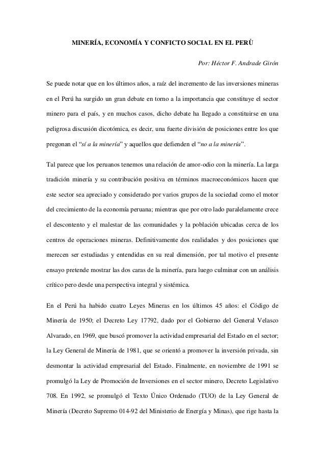 MINERÍA, ECONOMÍA Y CONFICTO SOCIAL EN EL PERÙ                                                           Por: Héctor F. An...