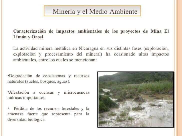 Minería y el Medio Ambiente Caracterización de impactos ambientales de los proyectos de Mina El Limón y Orosi La actividad...