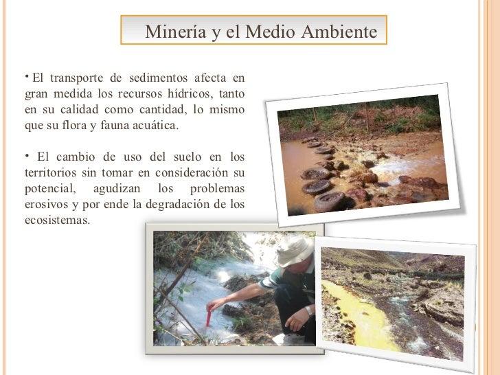 Minería y el Medio Ambiente <ul><li> El transporte de sedimentos afecta en gran medida los recursos hídricos, tanto en su...