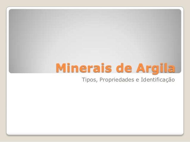 Minerais de Argila Tipos, Propriedades e Identificação