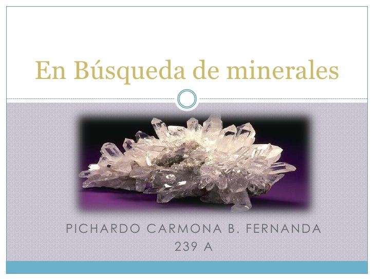 En Búsqueda de minerales  P IC H A R D O C A R M O N A B . F E R N A N D A                      239 A