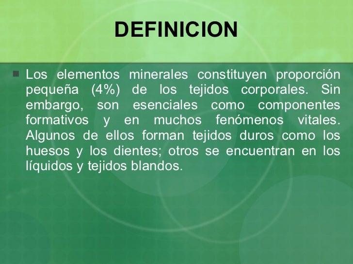 Minerales y oligoelementos for Gastronomia definicion
