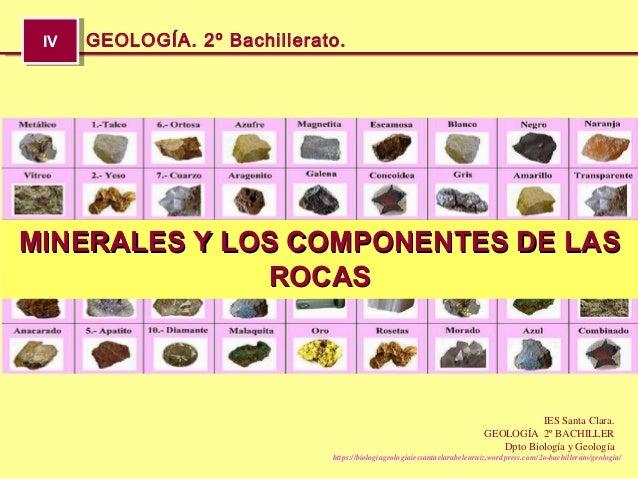 IVIV GEOLOGÍA. 2º Bachillerato. https://biologiageologiaiessantaclarabelenruiz.wordpress.com/2o-bachillerato/geologia/ IES...