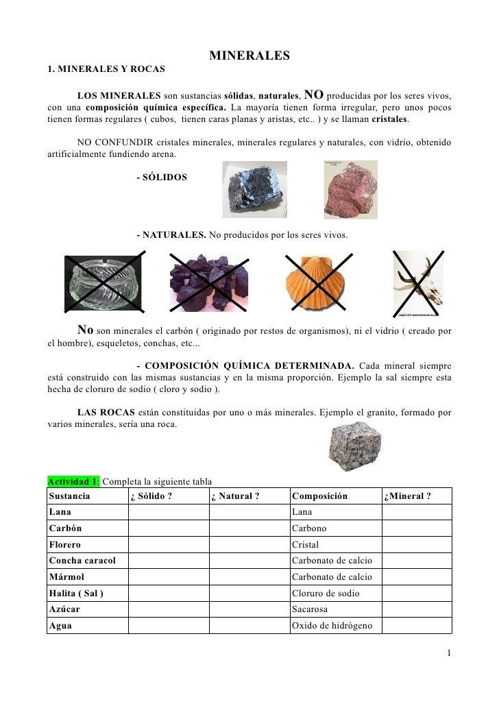 MINERALES 1. MINERALES Y ROCAS          LOS MINERALES son sustancias sólidas, naturales, NO producidas por los seres vivos...