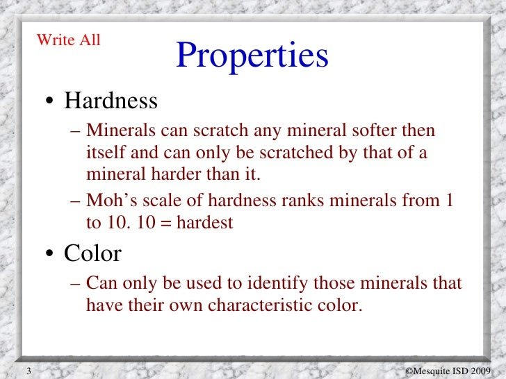 Special Properties That Can Be Used To Identify Minerals