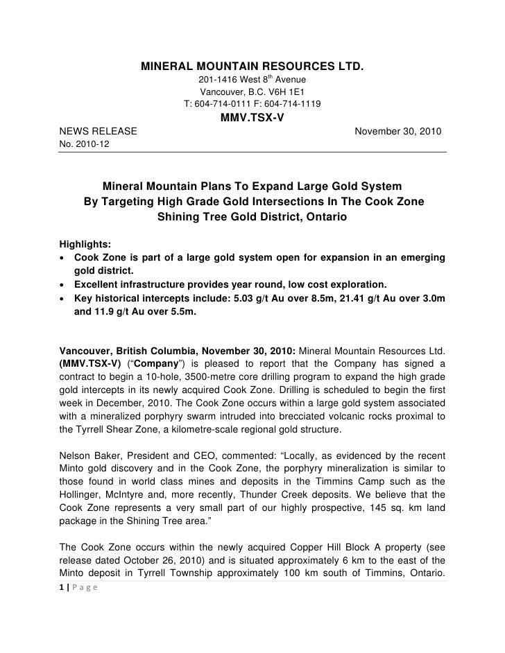 MINERAL MOUNTAIN RESOURCES LTD.                                201-1416 West 8th Avenue                                Van...
