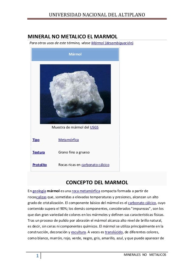 Mineral no metalico el marmol for Marmol mineral