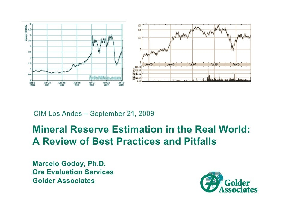 CIM Los Andes – September 21, 2009  Mineral Reserve Estimation in the Real World: A Review of Best Practices and Pitfalls ...