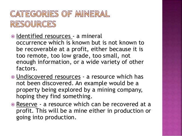 Mineral resources and types of mining