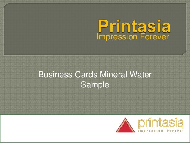 Impression Forever Business Cards Mineral Water Sample