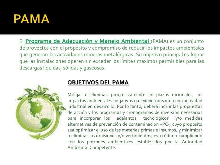 PAMA El Programa de Adecuación y Manejo Ambiental (PAMA) es unconjunto de proyectos con el propósito y compromiso de redu...