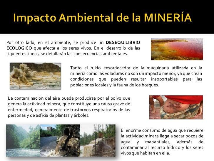 Impacto Ambiental de la MINERÍA Por otro lado, en el ambiente, se produce un DESEQUILIBRIO ECOLÓGICO que afecta a los sere...