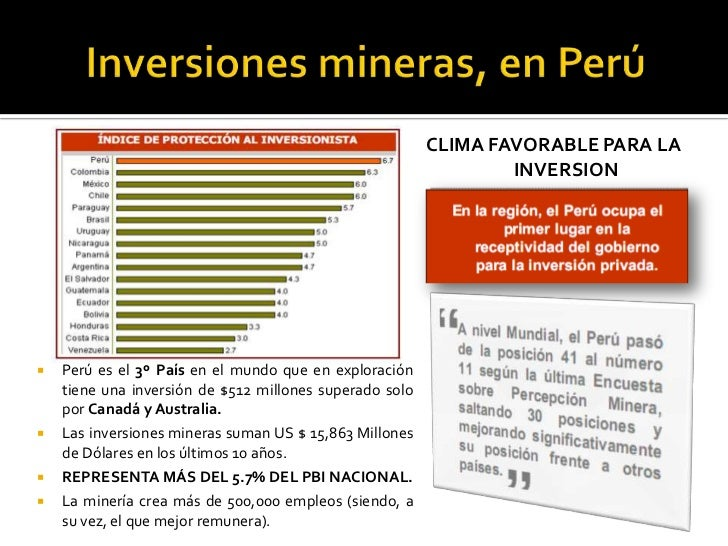 Inversiones mineras, en Perú CLIMA FAVORABLE PARA LA INVERSION  Perú es el 3º País en el mundo que en exploración tiene un...